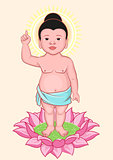 Buddha Birthday. Little Buddha stands on lotus flower