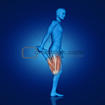 3D blue medical figure doing leg stretch