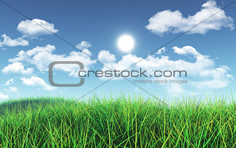 3D Green grass against blue sky