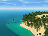 3D yacht travelling to a palm tree island