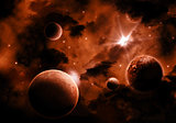 Fiery Space sky background