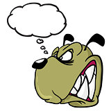 angry dog with thought bubble