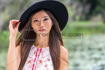 Thoughtful Chinese Asian Young Woman Girl Wearing Black Hat
