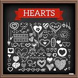 Heart doodles set