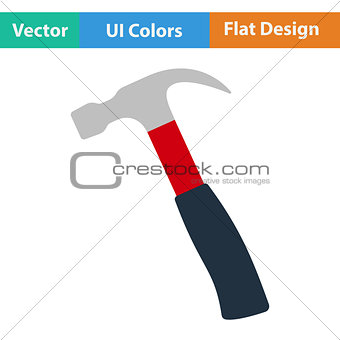 Flat design icon of hammer