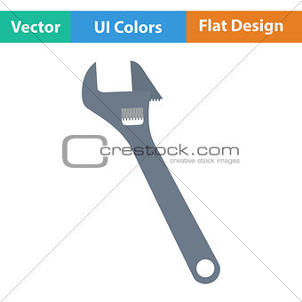 Flat design icon of adjustable wrench