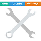 Flat design icon of crossed wrench