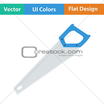 Flat design icon of hand saw