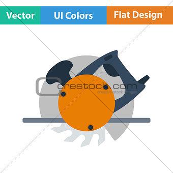 Flat design icon of circular saw