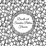 Doodle art. Abstract seamless pattern with flowers. Vector illustration. Coloring books. Black white.