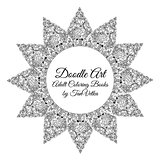 Hand-drawn mandala with ethnic floral doodle pattern. Coloring page - zendala, design relaxation for adults, vector illustration, isolated on a white background. Zen doodles.