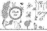 Vector illustration Zen Tangle wild nature. Doodle flowers, garden, forest. Coloring book anti stress for adults. Full page. Black white.