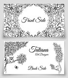 Vector template cards with doodles nature theme. Own and tree. Black white.