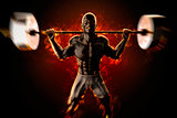 Bodybuilder with flaming barbell. 3d rendering