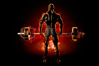 Flaming athlete with a barbell. Back view. 3d rendering
