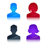 Icons profile colored avatar male and female