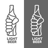 Set beer logos, simple gray labels
