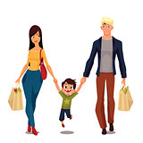 Pretty family with packages from shop