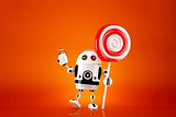 Robot with lollipop on orange background. Contains clipping path