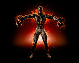 Muscular bodybuilder with dumbbells. Fire explode concept. 3d il