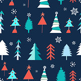 Seamless winter pattern of Christmas trees