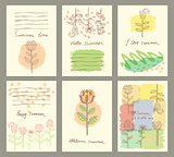 Vector set of six cute universal cards with hand drawn flower