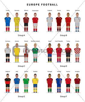 Football championship. National team players uniform. Soccer.