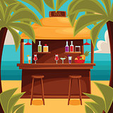 Summer bar, beach cafe with palm trees
