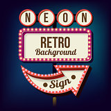 Night retro sign with lights