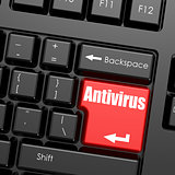Red enter button on computer keyboard, Antivirus word