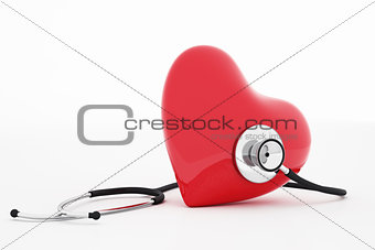 3D rendering stethoscope and heart
