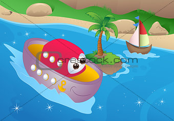 cartoon sea transportation