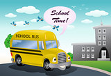 yellow school bus on school