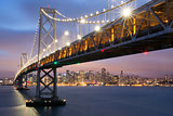 Dusk over Oakland-San Francisco Bay Bridge and San Francisco Skyline, California