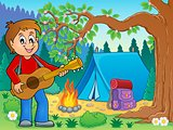Boy guitar player in campsite theme 2