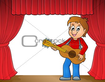 Boy guitar player on stage theme 1