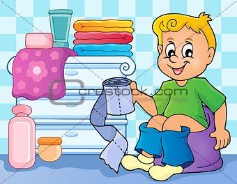 Boy on potty theme image 2