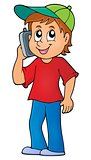 Boy with cellphone theme image 1