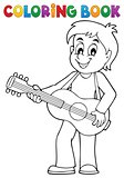 Coloring book boy guitar player theme 1
