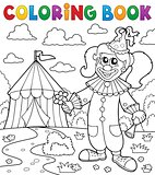 Coloring book clown near circus theme 7