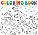 Coloring book horse near circus theme 1