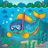 Fish snorkel diver theme image 4