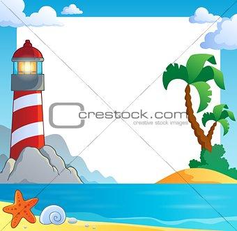 Frame with sea coast and lighthouse