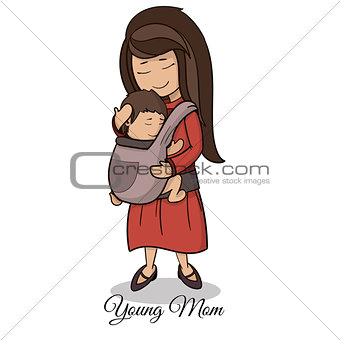mom carrying a child using a handy device baby carrier, baby wearing and attachment parenting concept