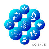 Modern blue vector science buttons