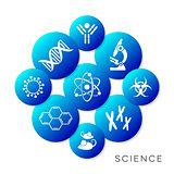 Modern blue vector science buttons
