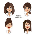 Vector set of hair styles and hairdos for office female workers.