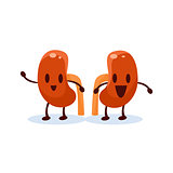 Kidneys Primitive Style Cartoon Character