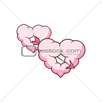 Arrow Piercing Two Heart Shaped Clouds