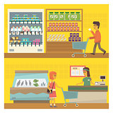 Grocery Shop Two Illustrations